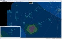 Pilot in 2D mode (radar only) configuration, area/approach simulation